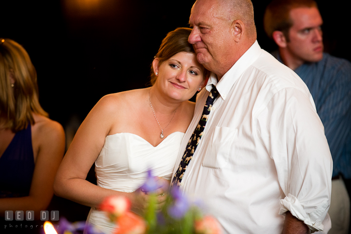 Bride cuddling with her Dad. Reception party wedding photos at private estate at Preston, Easton, Eastern Shore, Maryland by photographers of Leo Dj Photography. http://leodjphoto.com