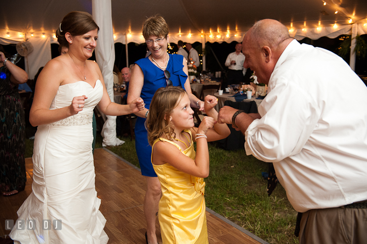 Father of the Bride dancing with niece. Reception party wedding photos at private estate at Preston, Easton, Eastern Shore, Maryland by photographers of Leo Dj Photography. http://leodjphoto.com