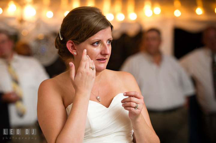 Bride crying listening to Mother's speech. Reception party wedding photos at private estate at Preston, Easton, Eastern Shore, Maryland by photographers of Leo Dj Photography. http://leodjphoto.com