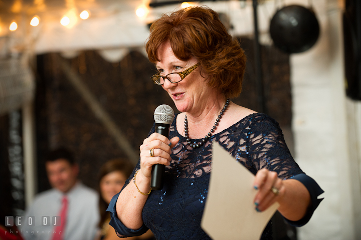 Mother of the Bride delivering speech. Reception party wedding photos at private estate at Preston, Easton, Eastern Shore, Maryland by photographers of Leo Dj Photography. http://leodjphoto.com