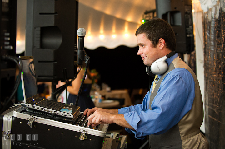 DJ Jimmy Higgins from Its Your Day DJ. Reception party wedding photos at private estate at Preston, Easton, Eastern Shore, Maryland by photographers of Leo Dj Photography. http://leodjphoto.com