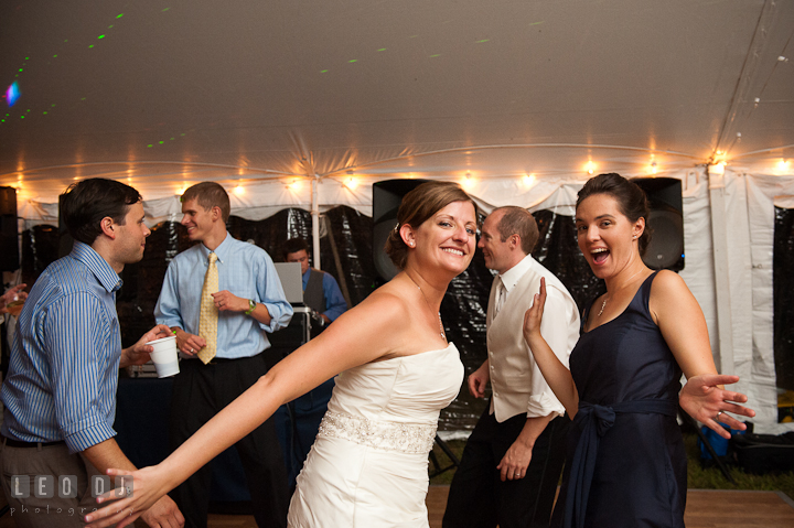 Bride dancing with her Matron of Honor. Reception party wedding photos at private estate at Preston, Easton, Eastern Shore, Maryland by photographers of Leo Dj Photography. http://leodjphoto.com