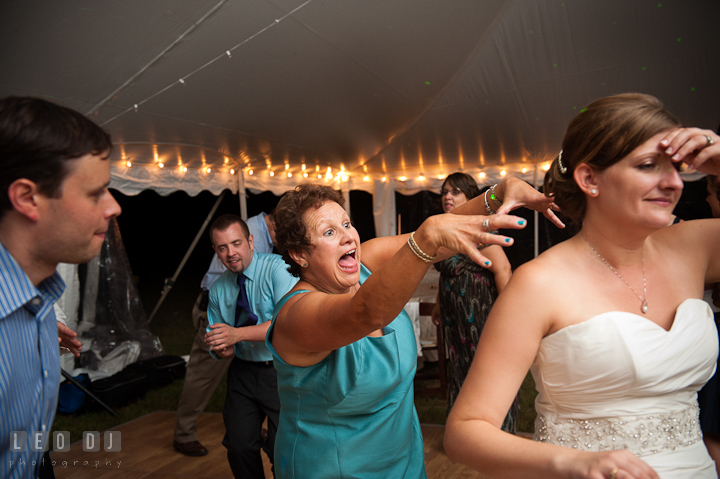 Mother of Groom teasing Bride being a zombie during the song Thriller from Michael Jackson. Reception party wedding photos at private estate at Preston, Easton, Eastern Shore, Maryland by photographers of Leo Dj Photography. http://leodjphoto.com