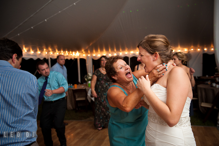 Mother of Groom jokingly choked Bride during dance. Reception party wedding photos at private estate at Preston, Easton, Eastern Shore, Maryland by photographers of Leo Dj Photography. http://leodjphoto.com