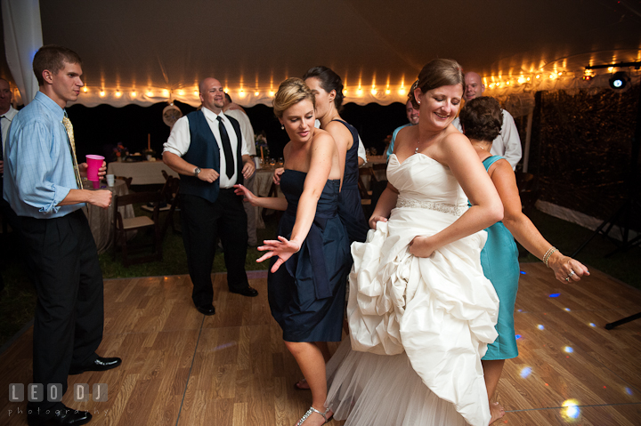 Bride dancing with Mother of Groom and Maid of Honor. Reception party wedding photos at private estate at Preston, Easton, Eastern Shore, Maryland by photographers of Leo Dj Photography. http://leodjphoto.com