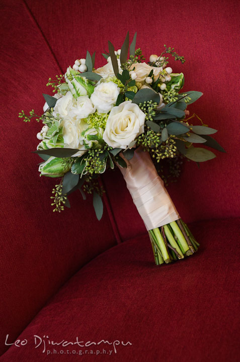 Bride's white rose flower bouquet by Fleur de Lis. Baltimore Maryland Tremont Plaza Hotel Grand Historic Venue wedding ceremony and reception photos, by photographers of Leo Dj Photography.