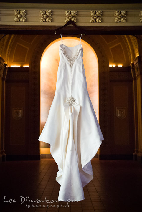 Wedding dress back detail shot. Baltimore Maryland Tremont Plaza Hotel Grand