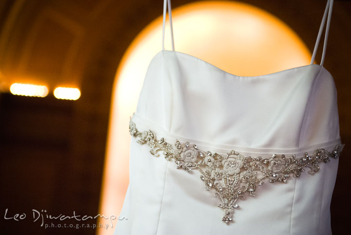 Wedding dress front details. Baltimore Maryland Tremont Plaza Hotel Grand Historic Venue wedding ceremony and reception photos, by photographers of Leo Dj Photography.