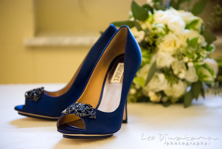 Bride's blue shoes. Baltimore Maryland Tremont Plaza Hotel Grand Historic Venue wedding ceremony and reception photos, by photographers of Leo Dj Photography.
