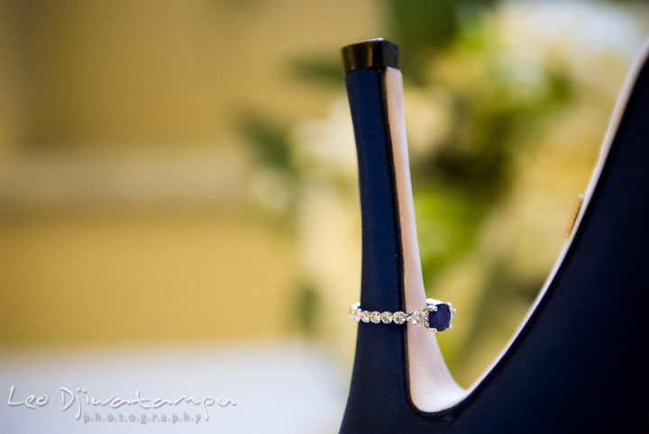 Bride's blue sapphire engagement ring. Baltimore Maryland Tremont Plaza Hotel Grand Historic Venue wedding ceremony and reception photos, by photographers of Leo Dj Photography.