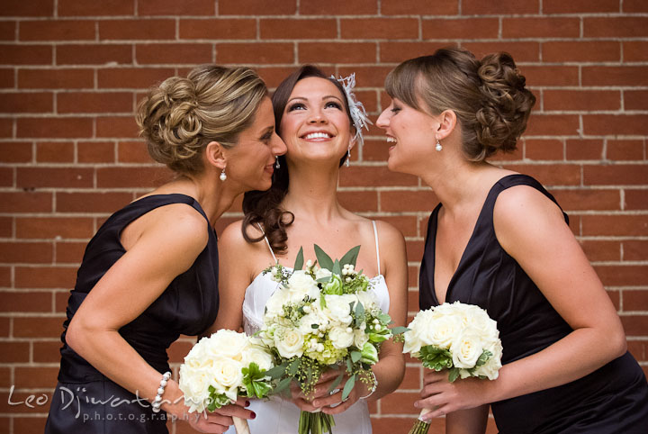 Bride, Maid of Honor and bridesmaid laughing. Baltimore Maryland Tremont Plaza Hotel Grand Historic Venue wedding ceremony and reception photos, by photographers of Leo Dj Photography.