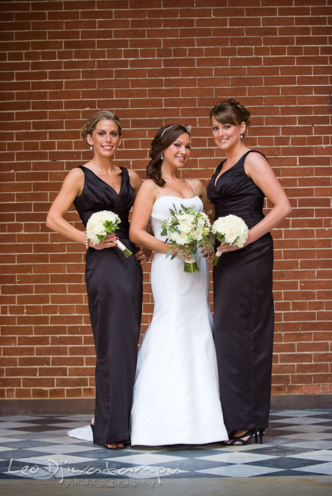Bride pose with Maid of Honor and Matron of Honor. Baltimore Maryland Tremont Plaza Hotel Grand Historic Venue wedding ceremony and reception photos, by photographers of Leo Dj Photography.