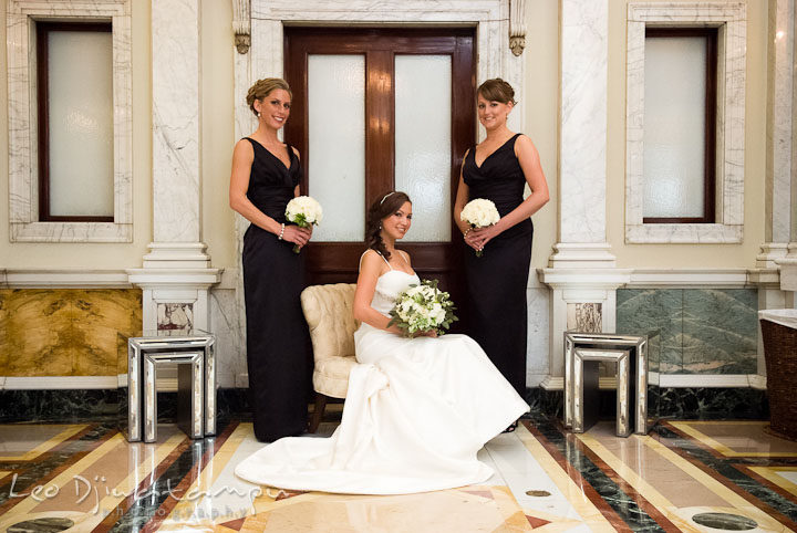 Bride, Maid of Honor and bridesmaid posing. Baltimore Maryland Tremont Plaza Hotel Grand Historic Venue wedding ceremony and reception photos, by photographers of Leo Dj Photography.