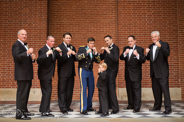 Groom, Best Man, groomsmen, Father of the Bride and Father of the Groom doing boxing pose. Baltimore Maryland Tremont Plaza Hotel Grand Historic Venue wedding ceremony and reception photos, by photographers of Leo Dj Photography.