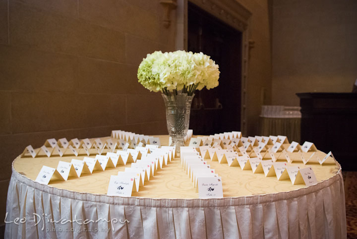 Table assignment cards. Baltimore Maryland Tremont Plaza Hotel Grand Historic Venue wedding ceremony and reception photos, by photographers of Leo Dj Photography.