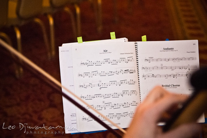 String trio performing Air by J.S. Bach. Baltimore Maryland Tremont Plaza Hotel Grand Historic Venue wedding ceremony and reception photos, by photographers of Leo Dj Photography.