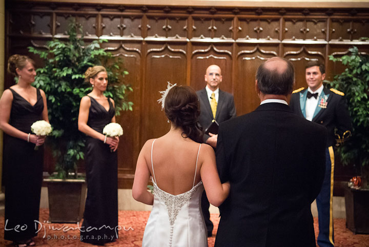 Groom smile as Bride and her Father approached. Baltimore Maryland Tremont Plaza Hotel Grand Historic Venue wedding ceremony and reception photos, by photographers of Leo Dj Photography.