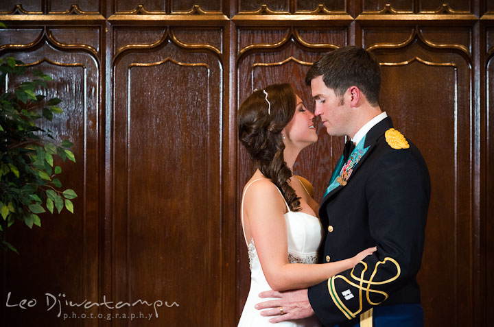 Bride and groom almost kissed. Baltimore Maryland Tremont Plaza Hotel Grand Historic Venue wedding ceremony and reception photos, by photographers of Leo Dj Photography.