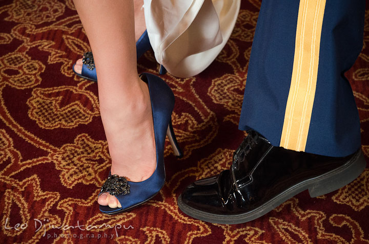 Bride and Groom's shoes. Baltimore Maryland Tremont Plaza Hotel Grand Historic Venue wedding ceremony and reception photos, by photographers of Leo Dj Photography.