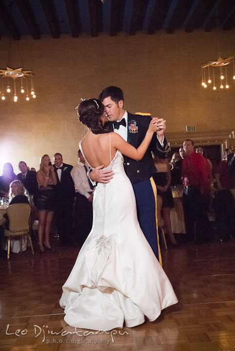 Bride and groom first dancing. Baltimore Maryland Tremont Plaza Hotel Grand Historic Venue wedding ceremony and reception photos, by photographers of Leo Dj Photography.