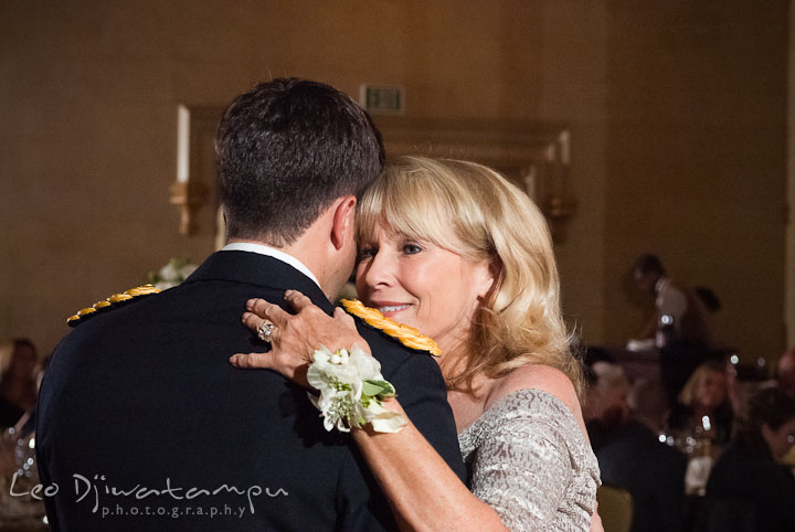 Mother of the groom and son dance. Baltimore Maryland Tremont Plaza Hotel Grand Historic Venue wedding ceremony and reception photos, by photographers of Leo Dj Photography.