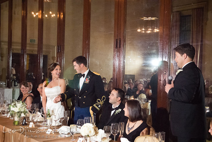 Introduction and speech by one of the Best Men. Baltimore Maryland Tremont Plaza Hotel Grand Historic Venue wedding ceremony and reception photos, by photographers of Leo Dj Photography.