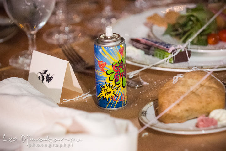 Silly string can. Baltimore Maryland Tremont Plaza Hotel Grand Historic Venue wedding ceremony and reception photos, by photographers of Leo Dj Photography.