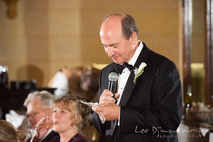 Father of the Bride giving speech. Baltimore Maryland Tremont Plaza Hotel Grand Historic Venue wedding ceremony and reception photos, by photographers of Leo Dj Photography.