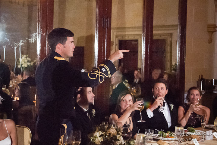 Groom pointing to guests who sprayed silly strings. Baltimore Maryland Tremont Plaza Hotel Grand Historic Venue wedding ceremony and reception photos, by photographers of Leo Dj Photography.