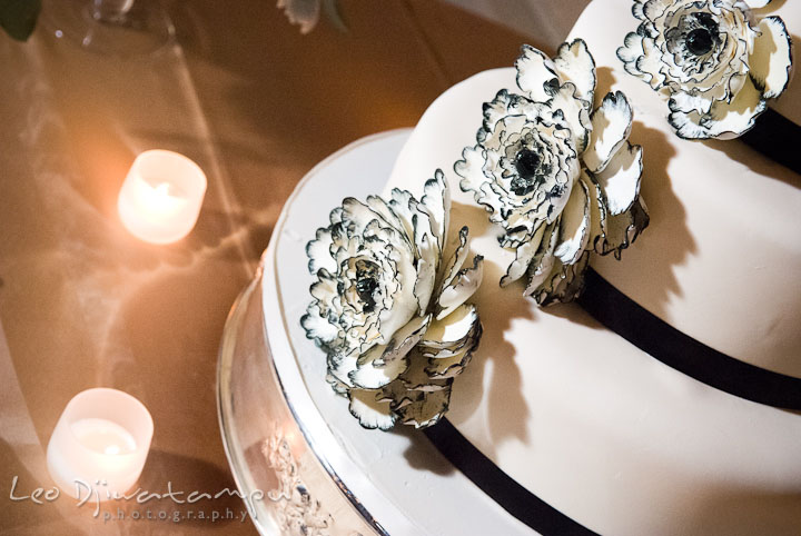Wedding cake detail of flower decoration by Sweets Bakery. Baltimore Maryland Tremont Plaza Hotel Grand Historic Venue wedding ceremony and reception photos, by photographers of Leo Dj Photography.