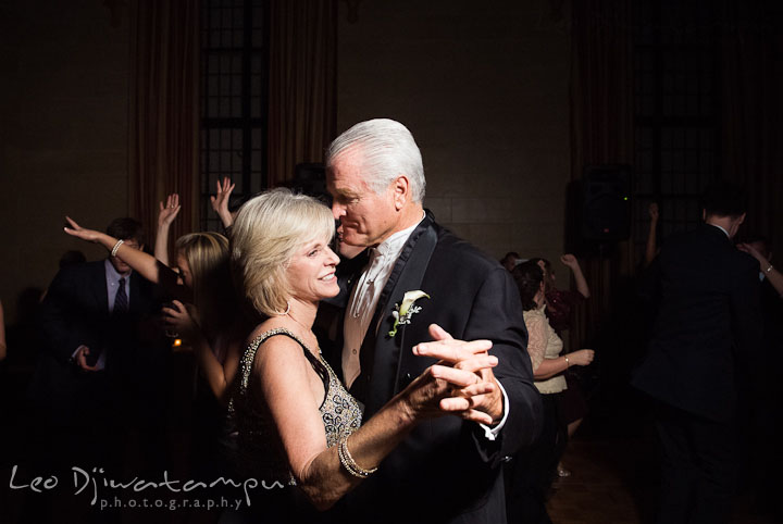 Father and Mother of Groom dancing. Baltimore Maryland Tremont Plaza Hotel Grand Historic Venue wedding ceremony and reception photos, by photographers of Leo Dj Photography.