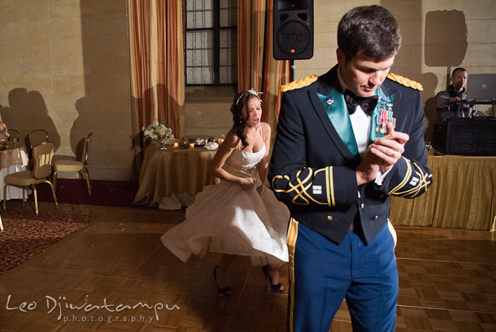 Bride and Groom dancing to favorite song. Baltimore Maryland Tremont Plaza Hotel Grand Historic Venue wedding ceremony and reception photos, by photographers of Leo Dj Photography.