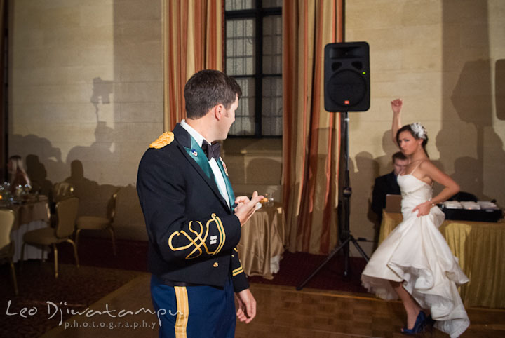 Bride doing a salsa dance. Baltimore Maryland Tremont Plaza Hotel Grand Historic Venue wedding ceremony and reception photos, by photographers of Leo Dj Photography.