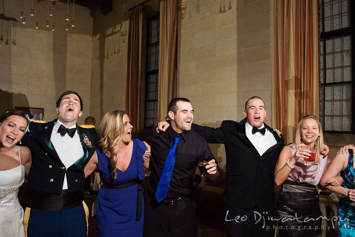 Bride, Groom and guests singing together. Baltimore Maryland Tremont Plaza Hotel Grand Historic Venue wedding ceremony and reception photos, by photographers of Leo Dj Photography.