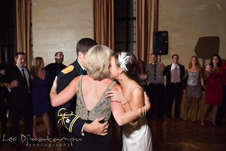 Bride and Groom hugging mother. Baltimore Maryland Tremont Plaza Hotel Grand Historic Venue wedding ceremony and reception photos, by photographers of Leo Dj Photography.
