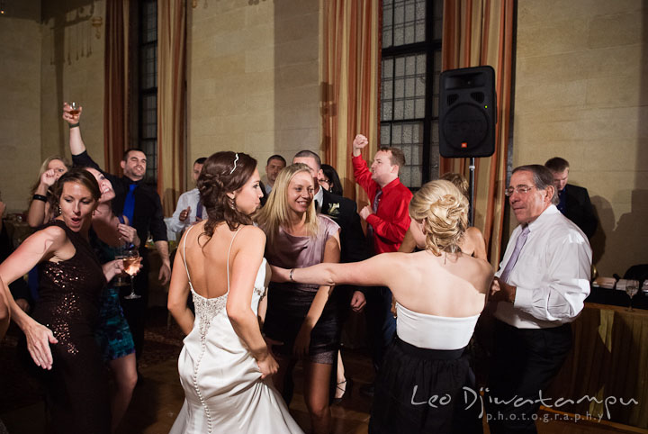 Bride dancing together with guests. Baltimore Maryland Tremont Plaza Hotel Grand Historic Venue wedding ceremony and reception photos, by photographers of Leo Dj Photography.