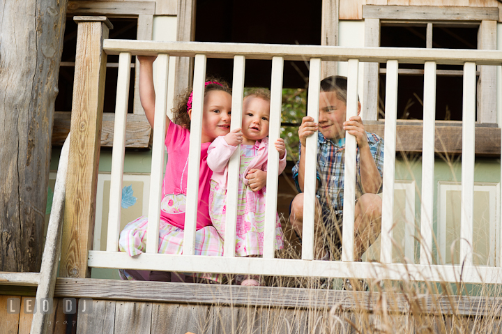 Brother and sisters peeking through a tree house fence. Washington DC, Silver Spring, Maryland candid children and family lifestyle photo session by photographers of Leo Dj Photography.