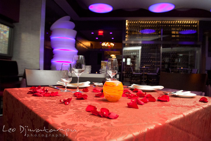 Romantic dining table setup. Engagement proposal and pre wedding photo session at Restaurant Michel at Ritz-Carlton Hotel, Tysons Corner, Virginia, by Leo Dj Photography