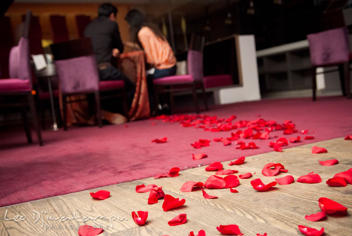 Red rose flower petals on the floor leading to the dining table. Engagement proposal and pre wedding photo session at Restaurant Michel at Ritz-Carlton Hotel, Tysons Corner, Virginia, by Leo Dj Photography