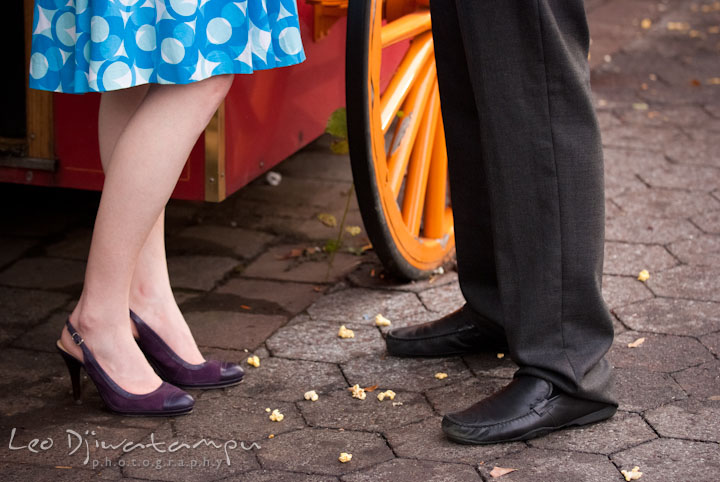 Engaged couple's shoes and dropped pop-corn. Washington DC National Zoo pre-wedding engagement session by Leo Dj Photography