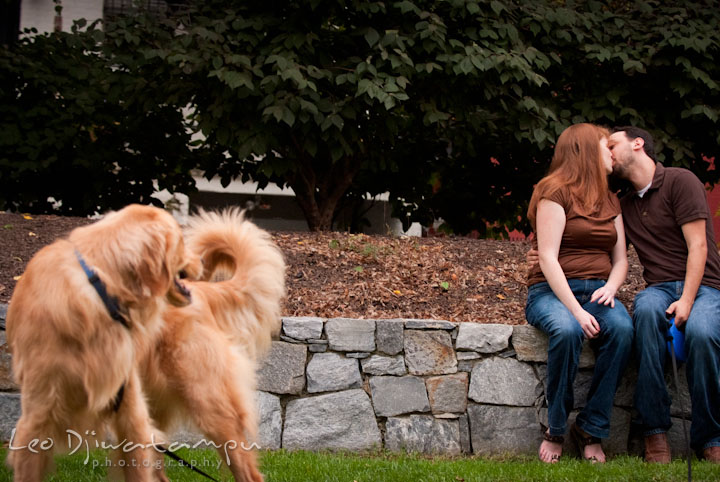 Pet dog looking at the engaged couple kissing. Dupont Circle Washington DC pre-wedding engagement session by Leo Dj Photography