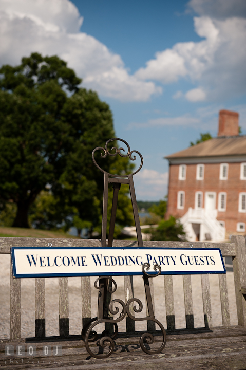 Welcome sign for wedding party guests. Historic London Town and Gardens wedding photos at Edgewater Annapolis, Maryland by photographers of Leo Dj Photography. http://leodjphoto.com