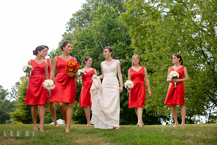 Bride, Matron of Honor and Bridesmaids walking together. Historic London Town and Gardens wedding photos at Edgewater Annapolis, Maryland by photographers of Leo Dj Photography. http://leodjphoto.com