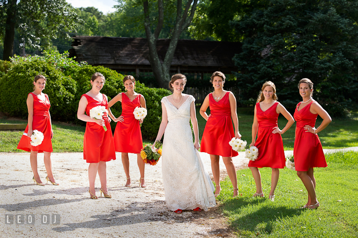 Bride and her Bridal party posing. Historic London Town and Gardens wedding photos at Edgewater Annapolis, Maryland by photographers of Leo Dj Photography. http://leodjphoto.com