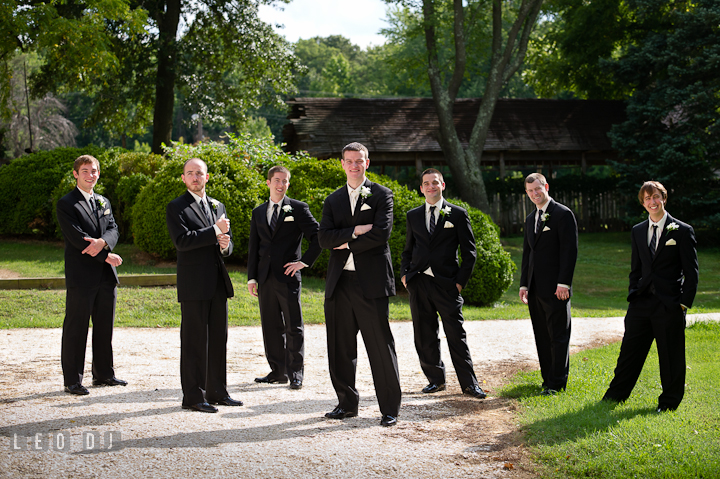 Groom, Best Man, and Groomsmen posing. Historic London Town and Gardens wedding photos at Edgewater Annapolis, Maryland by photographers of Leo Dj Photography. http://leodjphoto.com