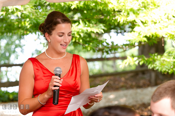 Matron of Honor delivering her speech. Historic London Town and Gardens wedding photos at Edgewater Annapolis, Maryland by photographers of Leo Dj Photography. http://leodjphoto.com