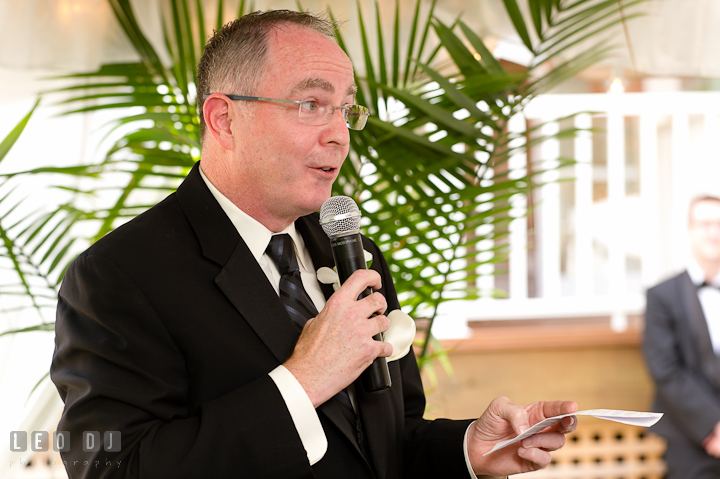 Father of the Bride delivering his touching and emotional speech. Historic London Town and Gardens wedding photos at Edgewater Annapolis, Maryland by photographers of Leo Dj Photography. http://leodjphoto.com