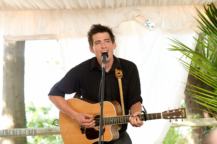 Friend guitarist dedicated new song to the newlywed couple. Historic London Town and Gardens wedding photos at Edgewater Annapolis, Maryland by photographers of Leo Dj Photography. http://leodjphoto.com