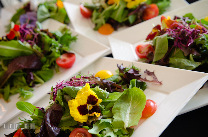 Salad from Ken's Creative Kitchen decorated with flowers. Historic London Town and Gardens wedding photos at Edgewater Annapolis, Maryland by photographers of Leo Dj Photography. http://leodjphoto.com