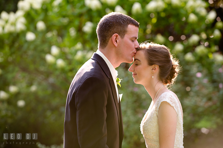 Groom kissing his lovely Bride. Historic London Town and Gardens wedding photos at Edgewater Annapolis, Maryland by photographers of Leo Dj Photography. http://leodjphoto.com